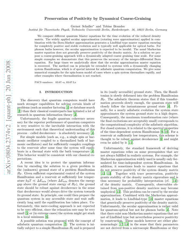 Gernot Schaller - Preservation of Positivity by Dynamical Coarse-Graining